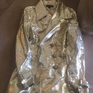 Arden B. 100% leather snakeskin metallic gold coat